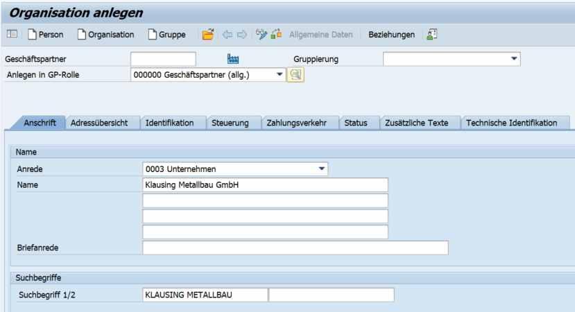 SAP Geschäftspartner